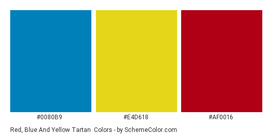Red Blue And Yellow Tartan Color Scheme