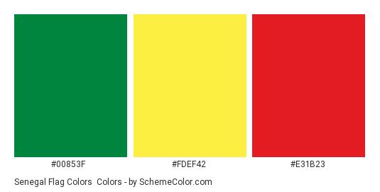 Senegal Flag Colors - Color scheme palette thumbnail - #00853f #fdef42 #e31b23