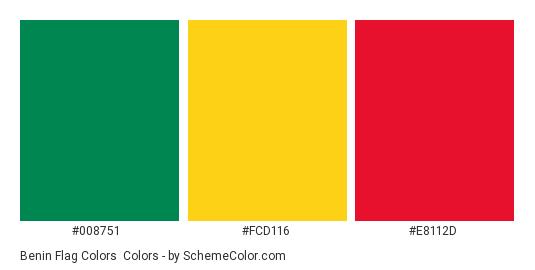 Benin Flag Colors - Color scheme palette thumbnail - #008751 #fcd116 #e8112d