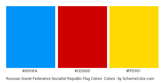 Russian Soviet Federative Socialist Republic Flag Colors - Color scheme palette thumbnail - #0093FA #CE0000 #FFD901