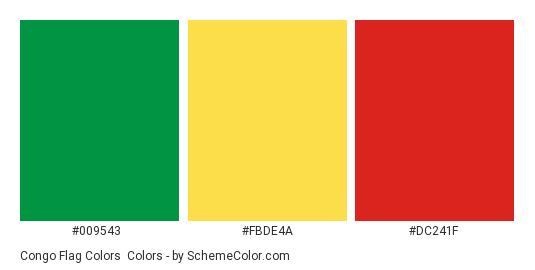 Congo Flag Colors - Color scheme palette thumbnail - #009543 #fbde4a #dc241f
