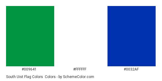 South Uist Flag Colors - Color scheme palette thumbnail - #009641 #ffffff #0032af