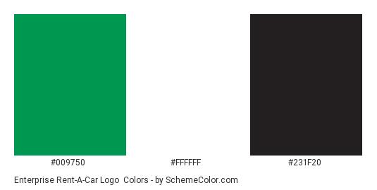 Enterprise Rent-A-Car Logo - Color scheme palette thumbnail - #009750 #ffffff #231f20