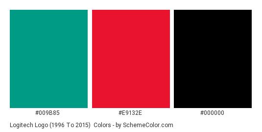 Logitech logo (1996 to 2015) - Color scheme palette thumbnail - #009b85 #e9132e #000000