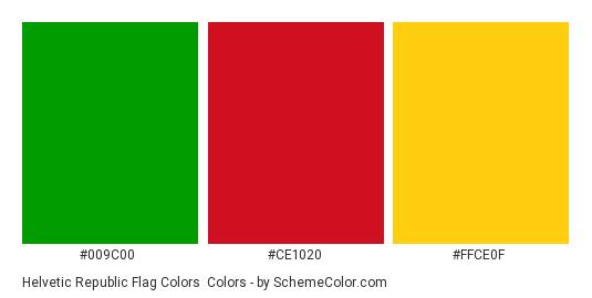Helvetic Republic Flag Colors - Color scheme palette thumbnail - #009c00 #ce1020 #ffce0f