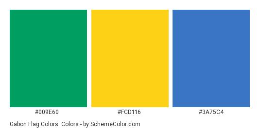 Gabon Flag Colors - Color scheme palette thumbnail - #009e60 #fcd116 #3a75c4