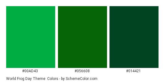 World Frog Day Theme - Color scheme palette thumbnail - #00AD43 #056608 #014421