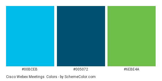 Cisco Webex Meetings - Color scheme palette thumbnail - #00BCEB #005072 #6EBE4A