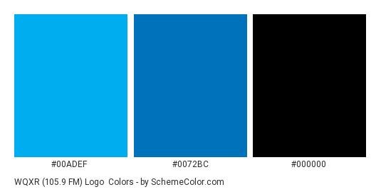WQXR (105.9 FM) Logo - Color scheme palette thumbnail - #00adef #0072bc #000000