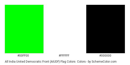 All India United Democratic Front (AIUDF) Flag Colors - Color scheme palette thumbnail - #00ff00 #ffffff #000000