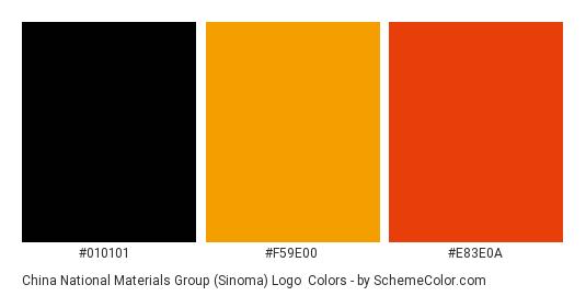China National Materials Group (Sinoma) Logo - Color scheme palette thumbnail - #010101 #f59e00 #e83e0a