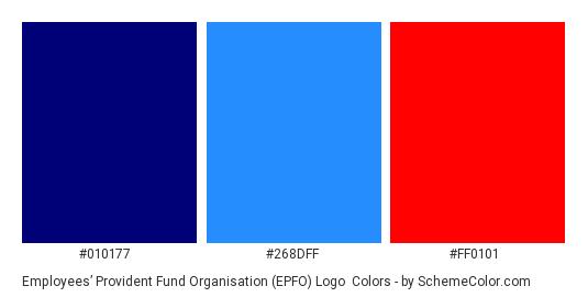 Employees' Provident Fund Organisation (EPFO) Logo - Color scheme palette thumbnail - #010177 #268dff #ff0101