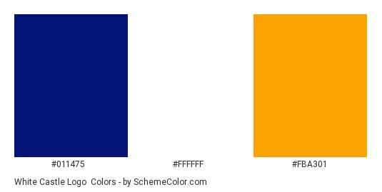 White Castle Logo - Color scheme palette thumbnail - #011475 #ffffff #fba301