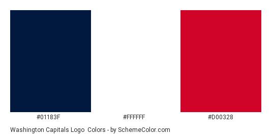 Washington Capitals Logo - Color scheme palette thumbnail - #01183f #ffffff #d00328