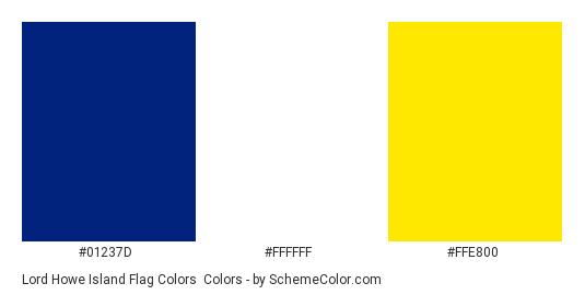 Lord Howe Island Flag Colors - Color scheme palette thumbnail - #01237D #FFFFFF #FFE800