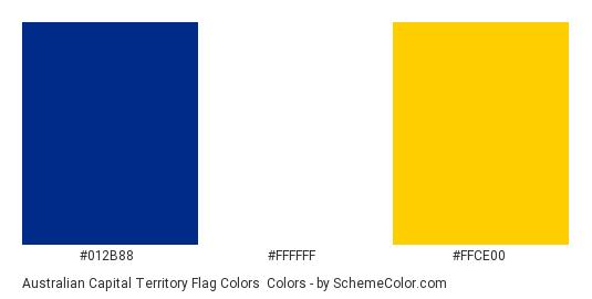 Australian Capital Territory Flag Colors - Color scheme palette thumbnail - #012B88 #FFFFFF #FFCE00