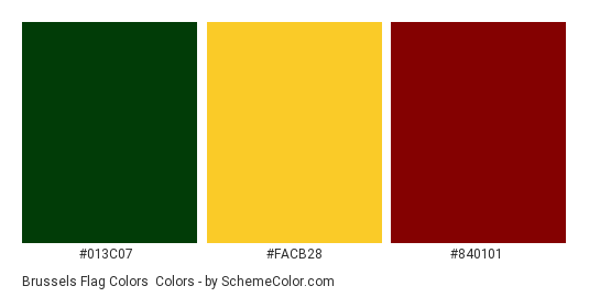 Brussels Flag Colors - Color scheme palette thumbnail - #013c07 #facb28 #840101