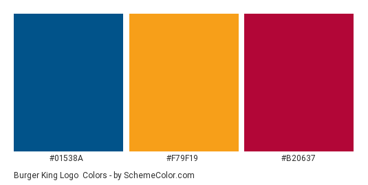 Burger King Logo - Color scheme palette thumbnail - #01538a #f79f19 #b20637