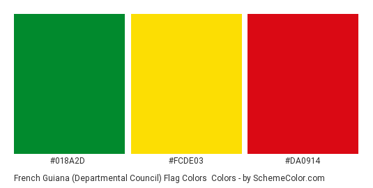 French Guiana (Departmental Council) Flag Colors - Color scheme palette thumbnail - #018a2d #fcde03 #da0914