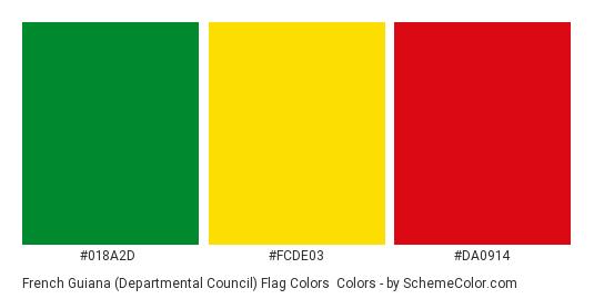 French Guiana (Departmental Council) Flag Colors - Color scheme palette thumbnail - #018a2d #fcde03 #da0914