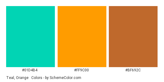 Teal Orange Brown Mix Color Scheme Palette Thumbnail 01d4b4 Ff9c00