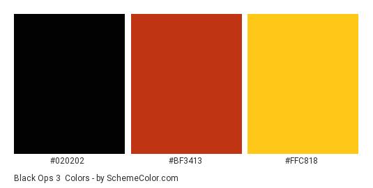 Black Ops 3 - Color scheme palette thumbnail - #020202 #bf3413 #ffc818