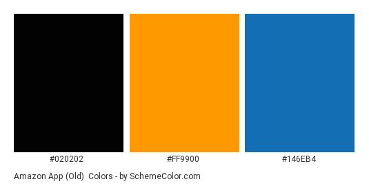 Amazon app (Old) - Color scheme palette thumbnail - #020202 #ff9900 #146eb4