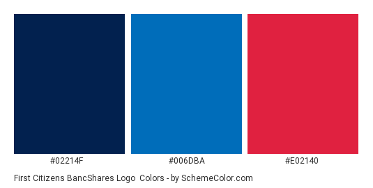First Citizens BancShares Logo - Color scheme palette thumbnail - #02214f #006dba #e02140