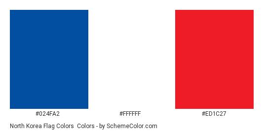 North Korea Flag Colors - Color scheme palette thumbnail - #024fa2 #ffffff #ed1c27