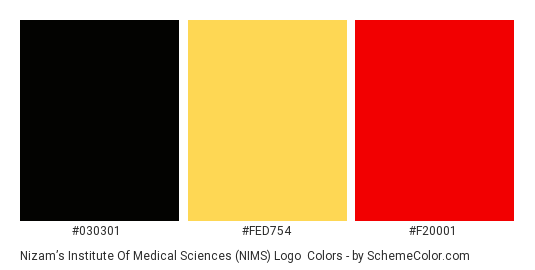 Nizam's Institute of Medical Sciences (NIMS) Logo - Color scheme palette thumbnail - #030301 #fed754 #f20001