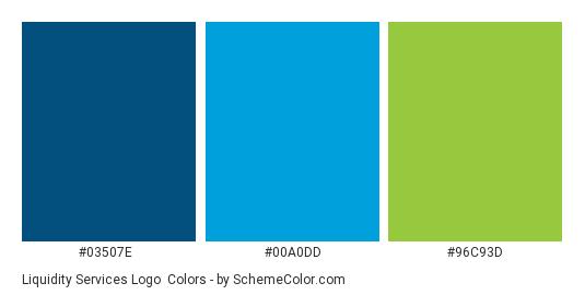 Liquidity Services Logo - Color scheme palette thumbnail - #03507e #00a0dd #96c93d