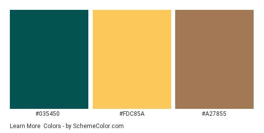 Learn More - Color scheme palette thumbnail - #035450 #fdc85a #a27855