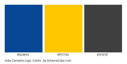 India Cements Logo - Color scheme palette thumbnail - #064894 #ffc700 #3f3f3f