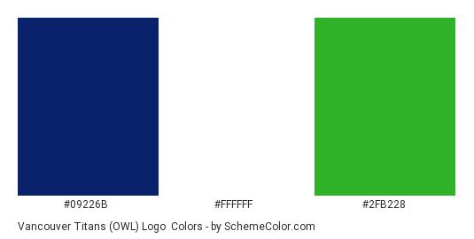 Vancouver Titans (OWL) Logo - Color scheme palette thumbnail - #09226B #FFFFFF #2FB228
