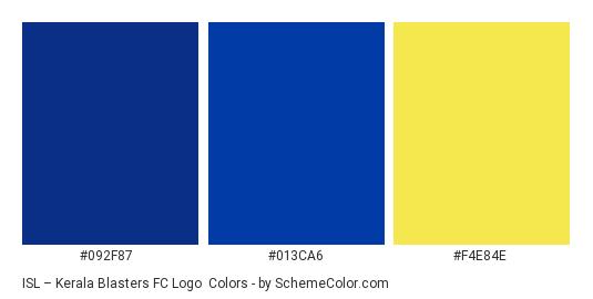 ISL – Kerala Blasters FC Logo - Color scheme palette thumbnail - #092f87 #013ca6 #f4e84e