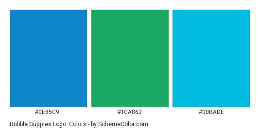 Bubble Guppies Logo - Color scheme palette thumbnail - #0E85C9 #1ca862 #00bade