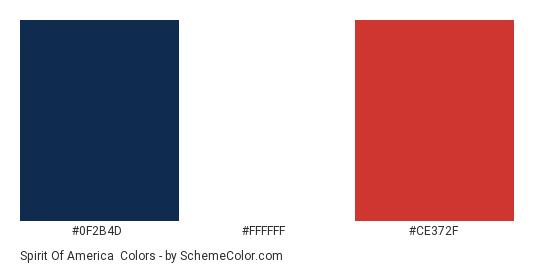 Spirit of America - Color scheme palette thumbnail - #0F2B4D #FFFFFF #CE372F