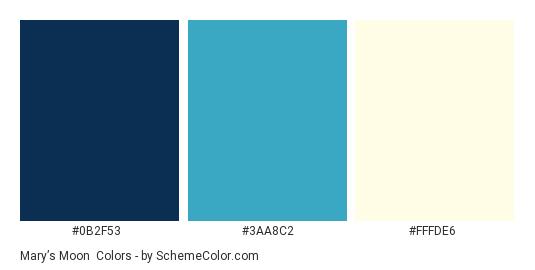 Mary's Moon - Color scheme palette thumbnail - #0b2f53 #3aa8c2 #fffde6