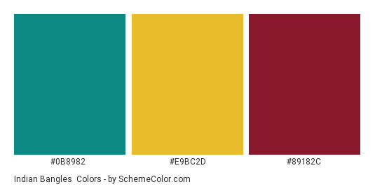 Indian Bangles - Color scheme palette thumbnail - #0b8982 #e9bc2d #89182c