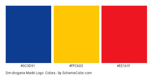 dm-drogerie markt Logo - Color scheme palette thumbnail - #0c3d91 #ffc603 #ee161f