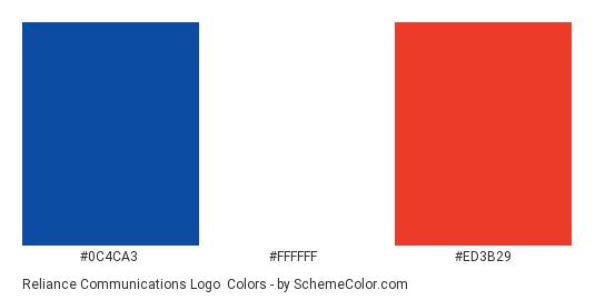 Reliance Communications Logo - Color scheme palette thumbnail - #0c4ca3 #ffffff #ed3b29
