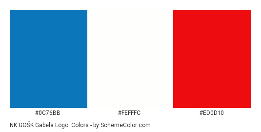 NK GOŠK Gabela Logo - Color scheme palette thumbnail - #0c76bb #fefffc #ed0d10