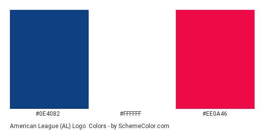 American League (AL) Logo - Color scheme palette thumbnail - #0e4082 #ffffff #ee0a46