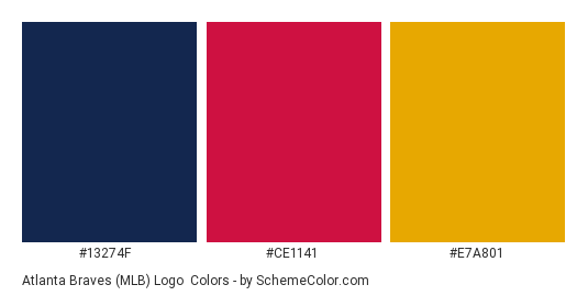 Atlanta Braves Mlb Logo Color Scheme Palette Thumbnail 13274f Ce1141
