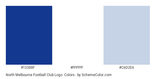 North Melbourne Football Club Logo - Color scheme palette thumbnail - #13388f #ffffff #c6d2e6