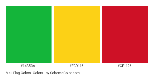 Mali Flag Colors - Color scheme palette thumbnail - #14b53a #fcd116 #ce1126