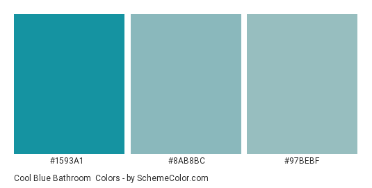Cool Blue Bathroom - Color scheme palette thumbnail - #1593a1 #8ab8bc #97bebf