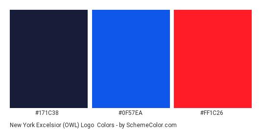 New York Excelsior (OWL) Logo - Color scheme palette thumbnail - #171C38 #0F57EA #FF1C26