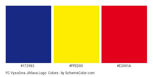 FC Vysočina Jihlava Logo - Color scheme palette thumbnail - #172983 #ffed00 #e2001a