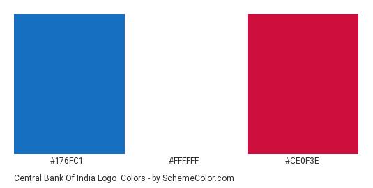 Central Bank of India Logo - Color scheme palette thumbnail - #176fc1 #ffffff #ce0f3e